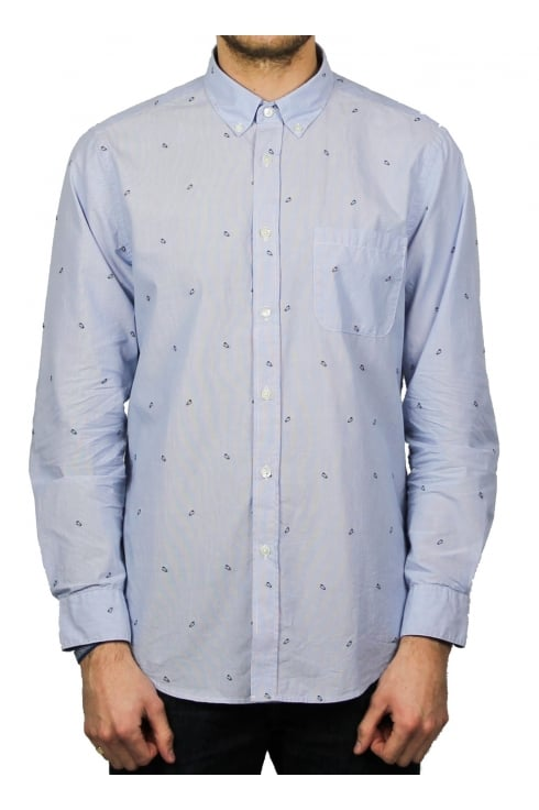 Portuguese Flannel Alfinete Patterned Long-Sleeved Shirt (Blue)
