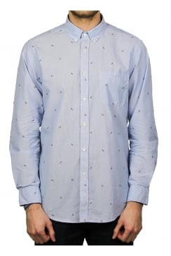 Alfinete Patterned Long-Sleeved Shirt (Blue)