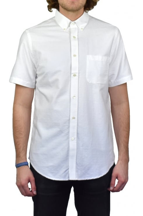 Portuguese Flannel Dobby Short-Sleeved Shirt (White)