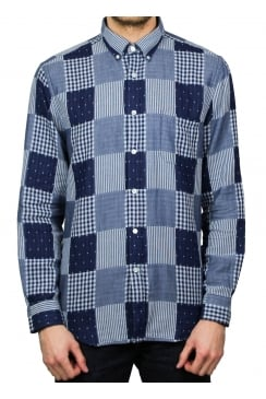 Remenndo Patchwork Long-Sleeved Shirt (Blue)