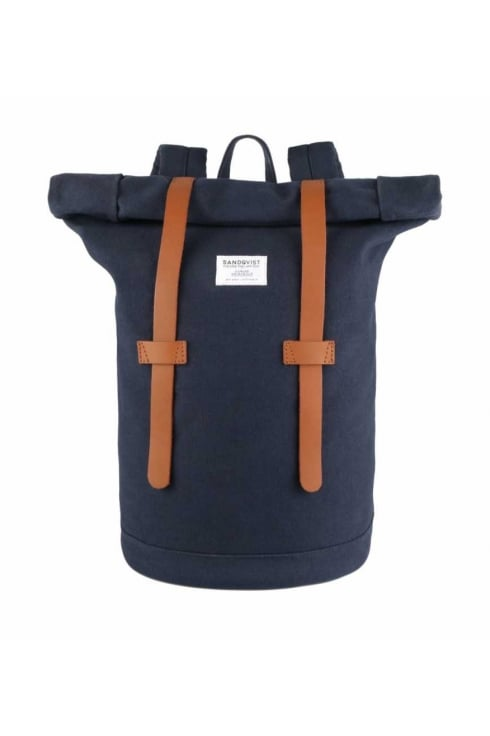Sandqvist Stig Rolltop Canvas Backpack (Blue)