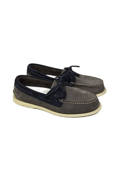 Sperry Top-Sider Authentic Original 2-Eye Washable Boat Shoe (Charcoal/Navy)