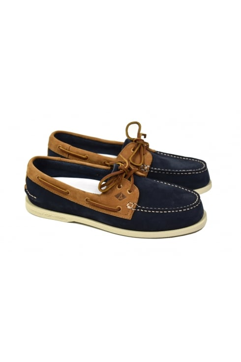 Sperry Top-Sider Authentic Original 2-Eye Washable Boat Shoe (Navy/Tan)