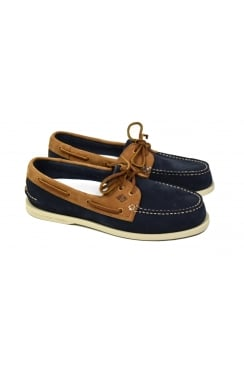 Authentic Original 2-Eye Washable Boat Shoe (Navy/Tan)