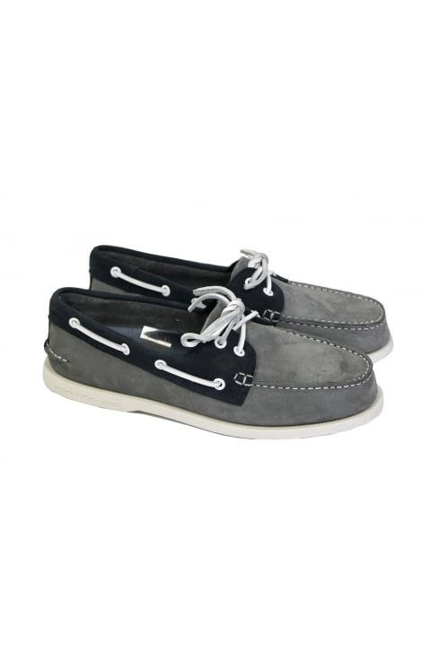 Sperry Top-Sider Authentic Original Washable 2-Eye Boat Shoe (Grey/Navy)