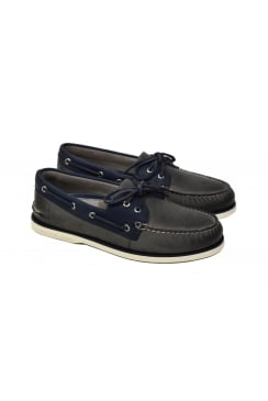 Gold Cup Authentic Original 2-Eye Roustabout Boat Shoe (Navy/Grey)