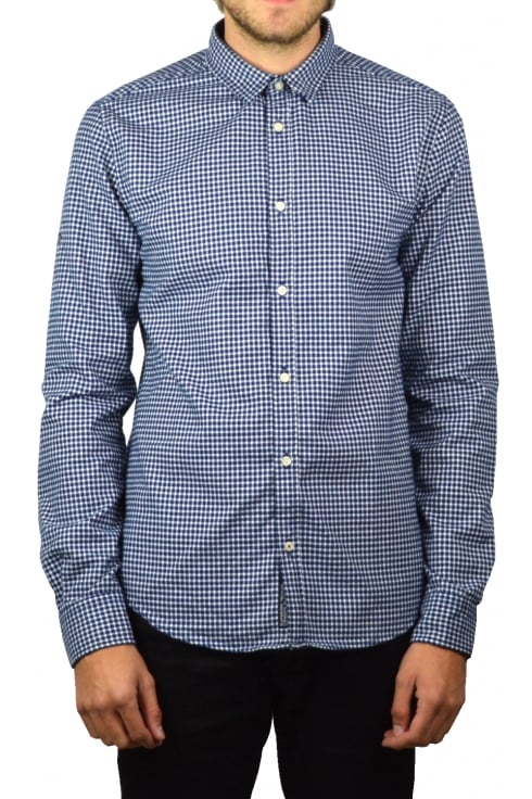 Superdry Fine Flannel Long-Sleeved Shirt (Nevada Blue Gingham)