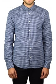 Fine Flannel Long-Sleeved Shirt (Nevada Blue Gingham)