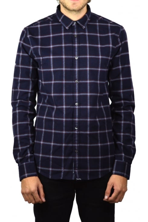 Superdry Fine Flannel Long-Sleeved Shirt (Washington Navy Check)