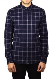Fine Flannel Long-Sleeved Shirt (Washington Navy Check)