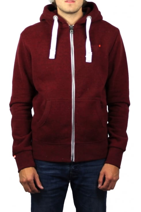 Superdry Orange Label Zip Hoody (Bright Berry Grit)