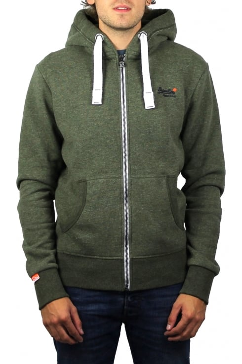 Superdry Orange Label Zip Hoody (Fern Green Grit)