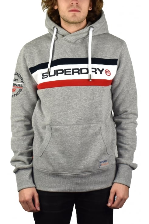 Superdry Trophy Chest Band Hoody (Stadium Grey Grindle)
