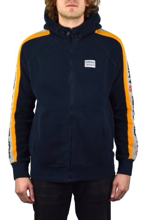 Superdry Trophy Sleeve Panel Zip Hoody (Three Pointer Navy)