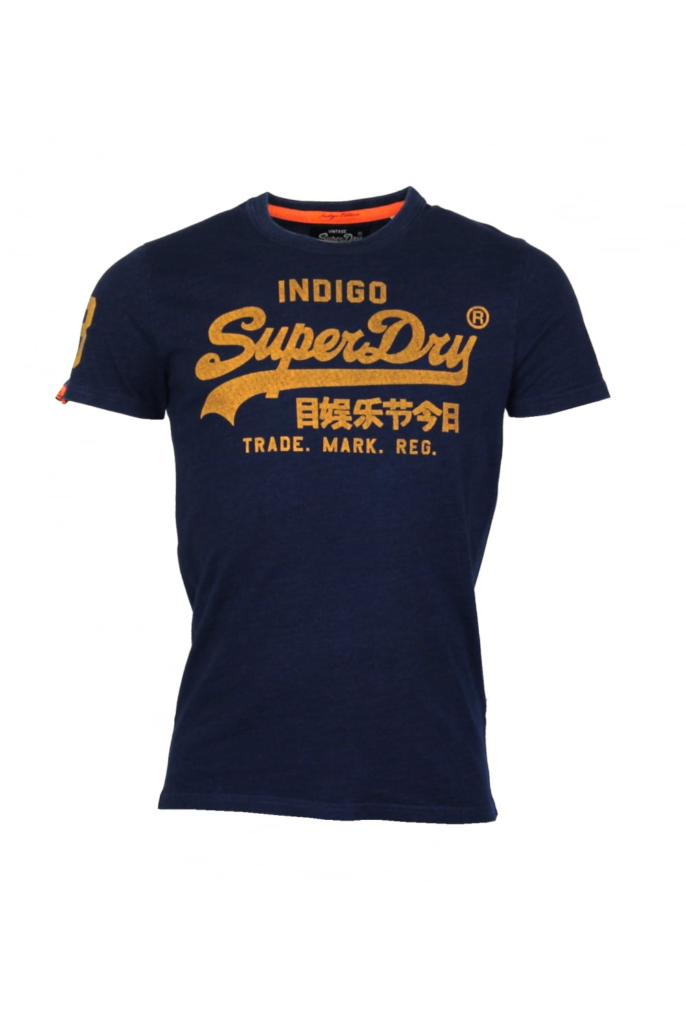 superdry vintage logo new indigo t shirt raw indigo gold. Black Bedroom Furniture Sets. Home Design Ideas