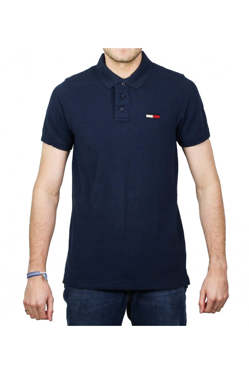 f6f4ef2df439 Tommy Hilfiger Basic Big Flag Short-Sleeved Polo Shirt (Black Iris ...