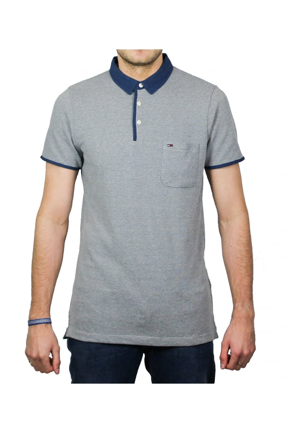 e7b91c4c39b1 Tommy Hilfiger Denim Basic Short-Sleeved Polo Shirt (Grey) | ThirtySix