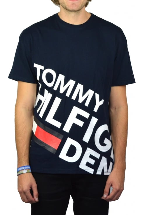 Tommy Jeans Retro Logo Crew-Neck T-Shirt (Black Iris)