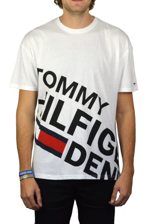 Tommy Jeans Retro Logo Crew-Neck T-Shirt (Classic White)