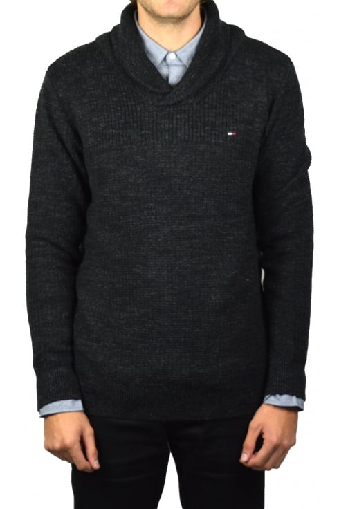 Tommy Hilfiger Denim Shawl Collar Jumper (Dark Grey Heather)