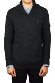 Shawl Collar Jumper (Dark Grey Heather)