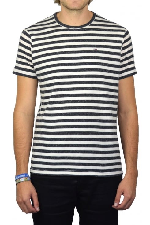 Tommy Jeans Striped Short-Sleeved T-Shirt (White/Black Iris Heather)