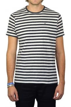 Striped Short-Sleeved T-Shirt (White/Black Iris Heather)
