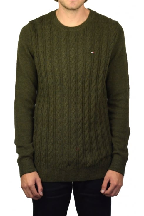 Tommy Jeans Basic Cable Knit Sweater (Forest Night)