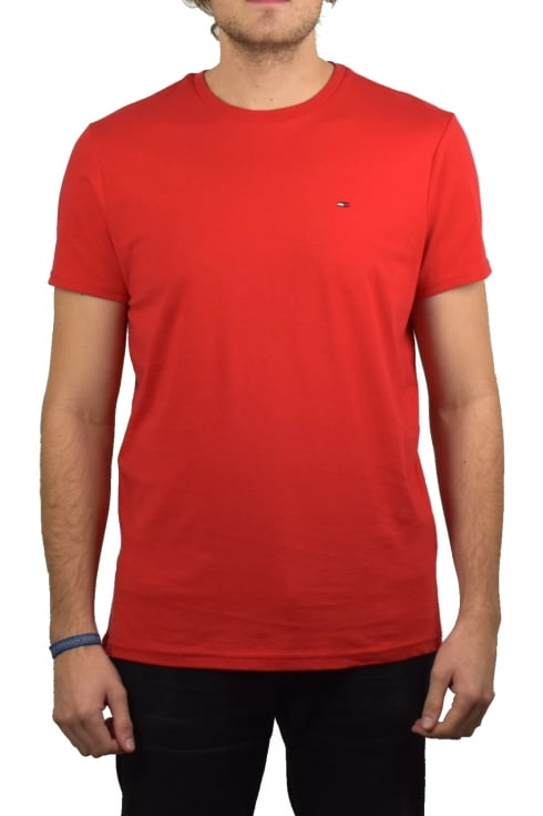 Tommy Jeans Basic Crew-Neck Short-Sleeved T-Shirt (Racing Red)
