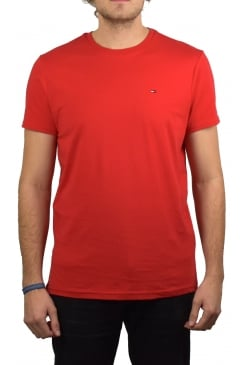 Basic Crew-Neck Short-Sleeved T-Shirt (Racing Red)