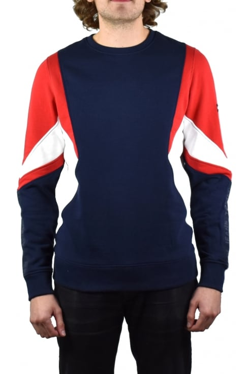 Tommy Jeans Symmetric Colourblock Sweatshirt (Racing Red/Multicolour)